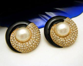 Vintage Ciner Pave Set Rhinestone Earrings Black Enamel Faux Pearl Cabochon