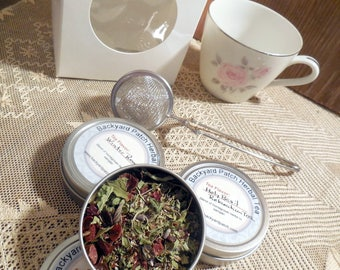 Tea cup with tea tins, Demi tea cup and three mini tins herb tea, herbal tea, rose hip, lavender, tisane, gift basket, gift set, gift box
