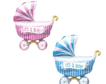 """Baby Buggy Balloons, 14"""", Its a Girl Balloons, Its a Boy Balloons, Baby Buggy, Baby Buggy Balloons, Baby Shower, Baby Reveal, Girl"""