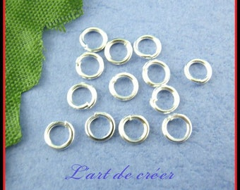100 silver plated 8 mm X 1 mm open jump rings