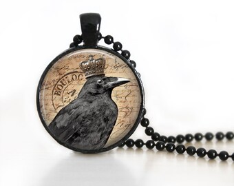 Raven Glass Pendant, Photo Glass Necklace, Glass Keychain