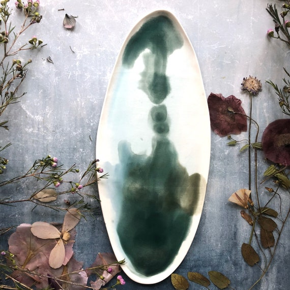 Watercolor green series porcelain platter