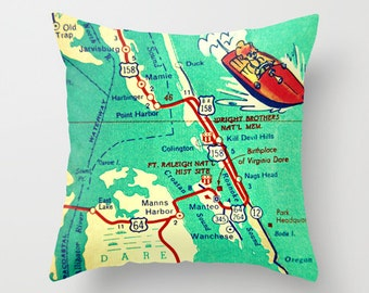 North Carolina Map Pillow Cover, Outer Banks Map Throw Pillow, Kill Devil NC Nags Head Duck NC Decorative Pillow Throw Pillow Retro Map aqua