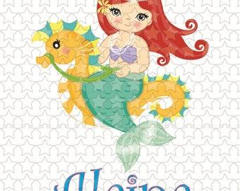 0183 Personalized red hair mermaid