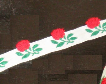 """Vintage Trim embroidered with roses by the half yard or yard 1/2"""" wide ribbon trim"""