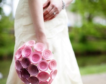 Pink Ombre Paper Flower Bridal Bouquet. Large Pink Bouquet, Light Pink to Purple Ombre
