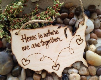 Valentine's Day Ornament USA Christmas Ornament Gift Tag Home is Where We Are Together New Home Your States Transplants Military Families