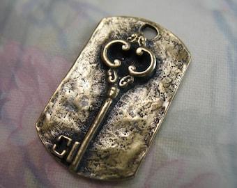 Dog Tag Key Pendant Bronze Jewelry Supplies Necklace Parts Skeleton Keys Antique Key Charms
