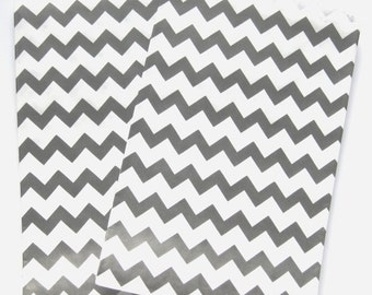 """Set of 10 Black and White Chevron Design Middy Bitty Bags (5"""" x 7.5"""")"""