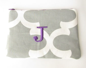 Monogram Make up Bag - J pouch - Ready to Ship - Bridesmaid Makeup bag - Cosmetic bag - Make up Clutch - Monogrammed Gift - Medium