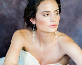 Silver Crystal Rhinestone Ball Drop Earrings, Modern Bridal Earrings, Gold Beaded Crystal Earrings, Clear Crystal Long Earrings, FELICITA