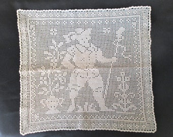 1930s Handmade Lace Doily Figure with Staff 16 in x 17 in Vintage Original