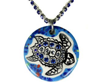 Swimming Turtle Sparkle Surly Necklace with Swarovski Crystals