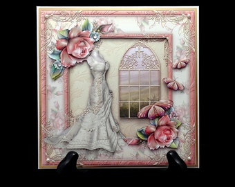 Handmade Vintage Style Christian Wedding Card Marriage Congratulations Greeting Card W017