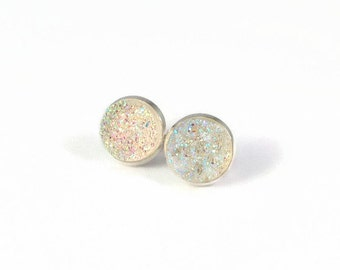 Large Clear Sparkle Druzy Studs