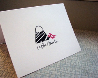 Fashionista Purse and Shoes Personalized Set of Note Cards