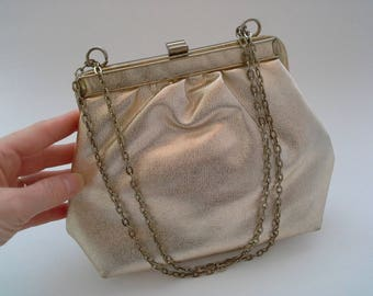 Vintage Gold Bag, Little Gold Purse, Gold Evening Bag, Gold Formal Purse, Gold Wedding Purse, Bridesmaid Purse, Gold Metallic Bag