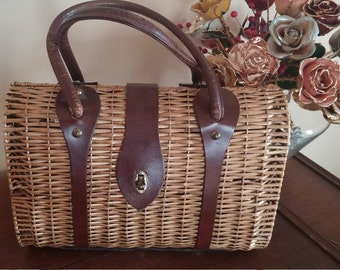 Vintage Wicker and Leather Purse Signed Ronay