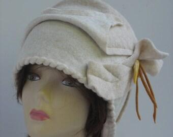 Designer Hat Boho Hat Flapper Hat white wool Cloche Hat Retro Hat handmade art hat Womens beanie Garden Party white Cloche Hat Gift For Her