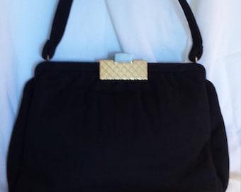 Mel-Ton vintage black cloth handbag
