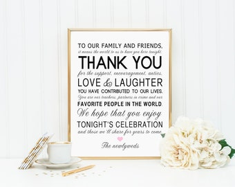 8 x 10 PRINTED Thank You Wedding Reception Sign for Family and Friends - Customized Wedding Table Sign Mr Mrs Newlyweds Love Laughter Thanks