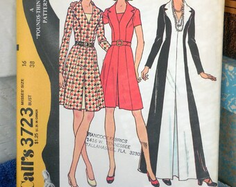 McCall's 3723 - Slimming Princess-Seam Dress - Mini Dress, Maxi Dress, 1970s Vintage Fashion - DIY Sewing Pattern - Size 16 (Bust 38) UNCUT