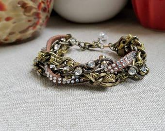 Multi Strand Statement Rhinestone Bracelet, Antique Brass Chunky Rhinestone Bracelet, Industrial Jewelry, OOAK Bracelet, Handmade Jewelry