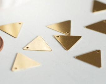 12mm 1 hole raw brass triangle pendant charm