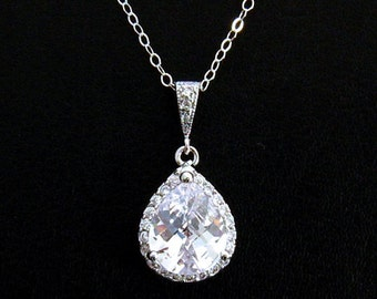 Cubic Zirconia Necklace: CZ Solitaire Necklace, Sterling Silver, Cubic Zirconia Bridal Necklace, CZ Wedding Jewelry, Wife Sister Mother Gift