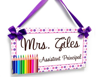 personalized Assistant Principal office name door sign - crayons and dots themed class decor - P2223