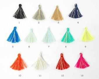 10pc 30mm Gold Embelished Cotton Tassels (choose Your Colour)