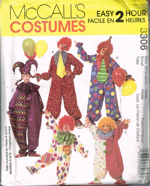 Size Sm Adult Easy Clown Costume Sewing Pattern Clown Halloween