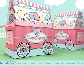 cotton candy stand -   party favor, candy and treat boxes, gift card holders printable PDF kit - INSTANT download