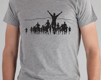 Mens RUNNing TShirt - Marathon Running chemise pour homme tshirt gris t-shirt imprimé en sérigraphie