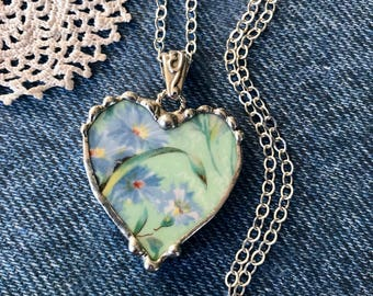 Necklace, Broken China Jewelry, Broken China Necklace, Heart Pendant, Heart Jewelry, Green Floral Chintz, Sterling Silver, Soldered Jewelry