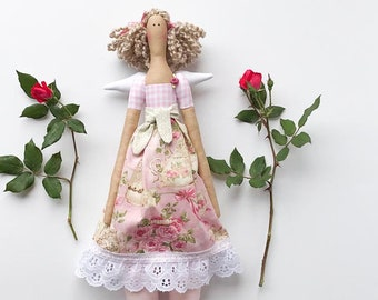 Fabric doll guardian angel cloth doll lovely plush doll blonde pale pink rose rag doll Nursery decor gift for girl & mom collectible doll