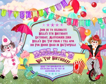 Carnival Birthday Party Invitations, Big Top Birthday Party, Party Invitations, Circus Birthday Party