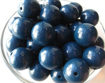 Chunky Gumball Beads, 10 pcs, 20mm Dark Blue Chunky Necklace Beads, Gumball Beads, Acrylic Bead, Plastic Bead, Round Bead