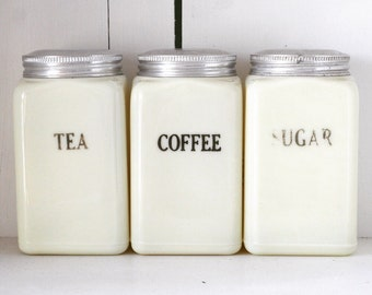 SALE - Set of Three McKee Custard Canisters Tea, Coffee, Sugar