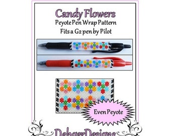 Bead Pattern Peyote(Pen Wrap/Cover)-Candy Flowers