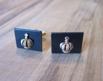 Gorgeous 1950s Gold and Black Crown Swank Cuff Links
