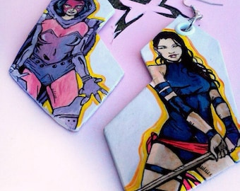 Psylocke - X-Men hand-painted earrings - Through the Ages