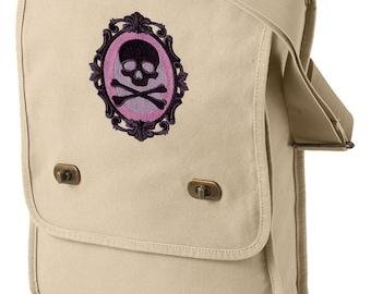 Cameo Mori Embroidered Skull Cameo Canvas Field Bag