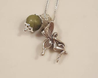 Celtic Necklace - Genuine Connemara Marble - Irish Fairy - Fairy Necklace - Sterling Silver