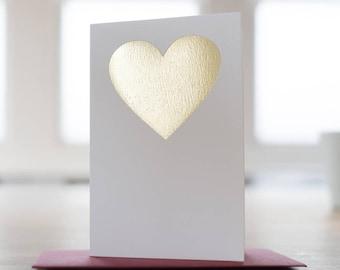 Hand Pressed Gold Love Heart Card - Gold Foil Card - Love Card - All Occasions Card - Blank Card - Card for Girlfriend - Card for Boyfriend