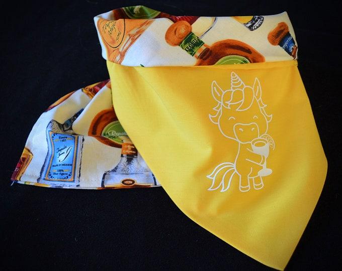 Unicorn with Margarita and Tequila Dog Bandana - Double Layer
