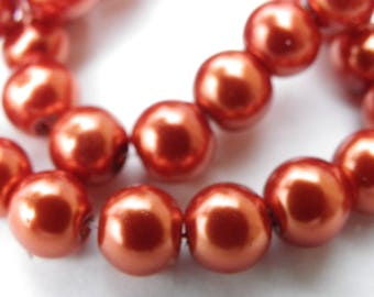50 beads of glass Pearl 8 mm with a beautiful bright orange rust