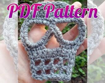 INSTANT DOWNLOAD Crochet Skull Pattern Applique Scarf Patch Garland