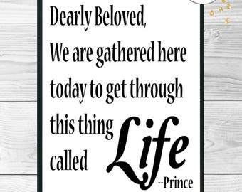Dearly Beloved, Prince Printable Wall Art