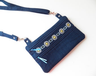 Denim Blue Crossbody Shoulder Bag Small Zippered Pockets Floral Boho Embroidered Design